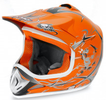 Casque cross enfant orange brillant Speedy