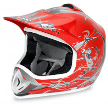 Casque cross enfant rouge brillant Speedy