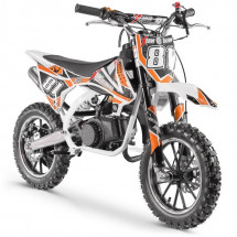 Moto cross enfant 50cc blanc et orange Start 10/10 pouces